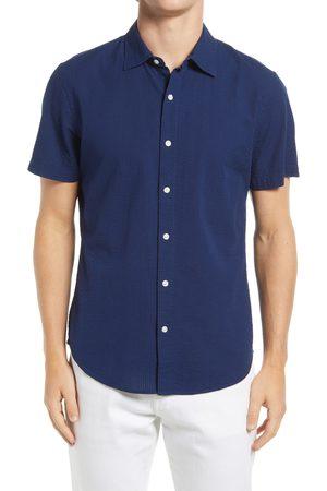 BONOBOS Men's Riviera Slim Fit Short Sleeve Seersucker Button-Up Shirt
