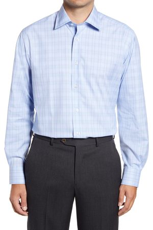 David Donahue Men's Plaid Dress Shirt