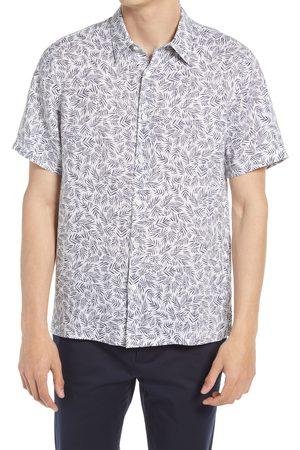 Theory Men's Irving Regular Fit Palm Print Short Sleeve Button-Up Linen Shirt
