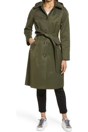 Sam Edelman Women's Water Repellent Belted Trench Coat With Removable Hood