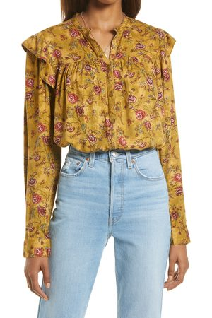 Treasure & Bond Women's Floral Ruffle Trim Button-Up Shirt
