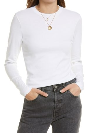Treasure & Bond Women's Women's Rib Crewneck Long Sleeve Shirt