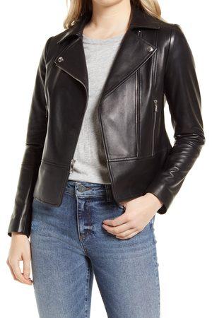 Sam Edelman Women's Peplum Lambskin Leather Moto Jacket