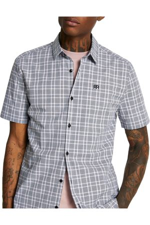 River Island Men's Check Short Sleeve Button-Up Shirt