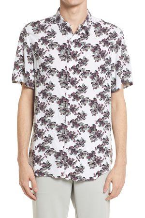 Open Edit Men's Floral Print Short Sleeve Button-Up Shirt