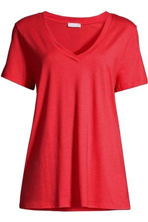 Hanro Women's Short Sleeve V-Neck - Geranium - Size XS