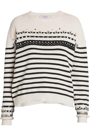 VALENTINO Women's Embroidery & Sequin Pullover Sweater - Ivory - Size Large