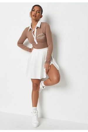 Missguided Tall Chocolate Contrast Collar Bodysuit