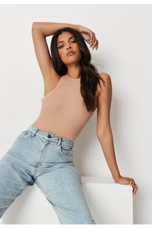 Missguided Recycled Petite Camel Rib Racer Bodysuit