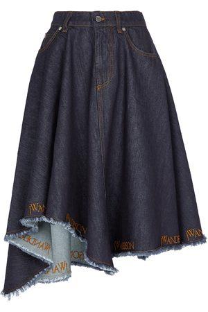J.W.Anderson Women Midi Skirts - Asymmetric logo denim midi skirt