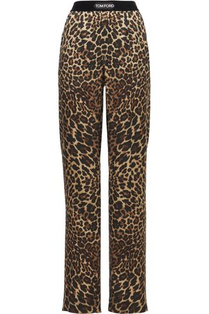 Tom Ford Printed Logo Silk Satin Pajama Pants
