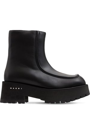 Marni 60mm Army Chunky Leather Ankle Boots