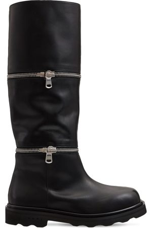 Marni 20mm Layer Zip Leather Boots