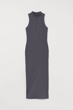 H&M Ribbed Stand-up Collar Dress