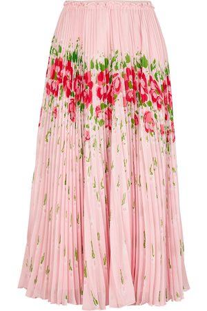 RED Valentino Floral-print pleated chiffon midi skirt