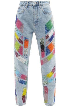 GERMANIER Embellished High-rise Straight-leg Jeans - Womens - Light Denim