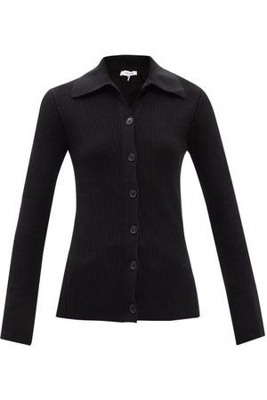 Frame Point-collar Ribbed Cotton-blend Cardigan - Womens