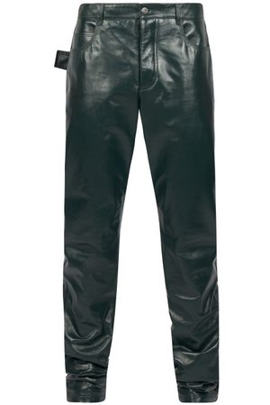 Bottega Veneta Men Leather Pants - Straight-leg Leather Trousers - Mens - Dark