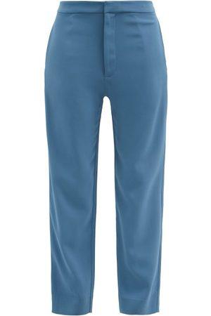ASCENO Women Straight Leg Pants - Olbia Crepe Straight-leg Trousers - Womens