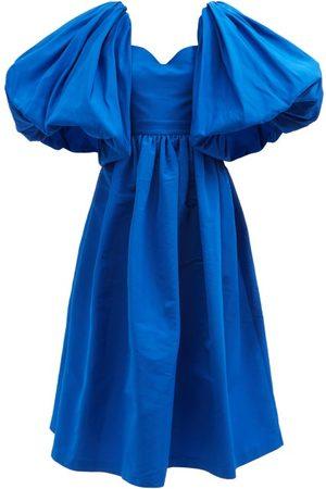 Alexander McQueen Puff-sleeve Flared Faille Midi Dress - Womens