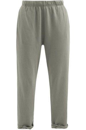 Les Tien Raw-hem Brushed-back Cotton Track Pants - Womens - Mid Grey