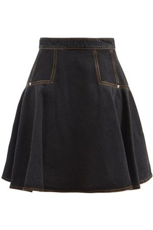 Alexander McQueen Circle-cut High-rise Denim Mini Skirt - Womens - Denim