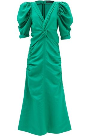 Proenza Schouler Shirred V-neck Twill Midi Dress - Womens