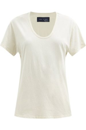Les Tien Scoop-neck Cotton-jersey T-shirt - Womens - Ivory