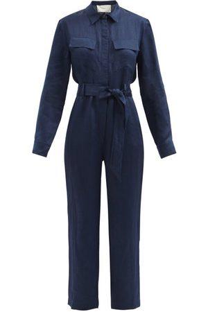 Asceno Antwerp Belted Organic Linen Jumpsuit - Womens - Navy