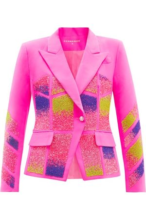 GERMANIER Crystal-embellished Upcycled Twill Blazer - Womens