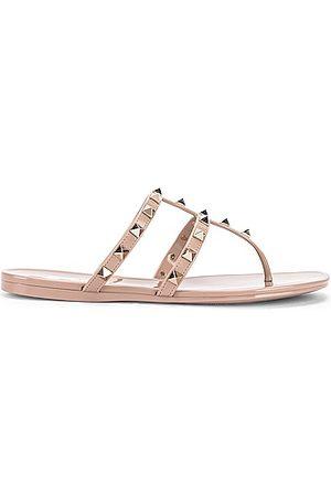 VALENTINO GARAVANI Rockstud Summer Thong Sandals in Nude