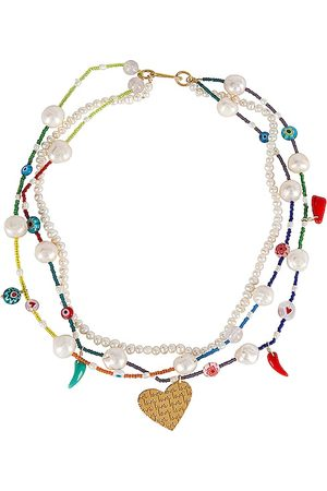 Mercedes Salazar Colores Necklace in White,Blue.