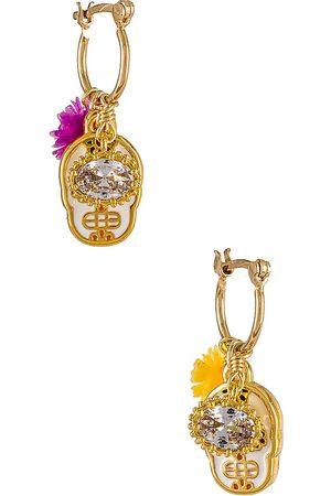 Mercedes Salazar Mini Calaquita Earrings in Metallic Gold.