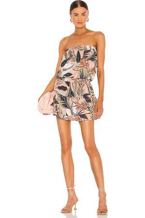 krisa Smocked Strapless Mini Dress in Neutral.