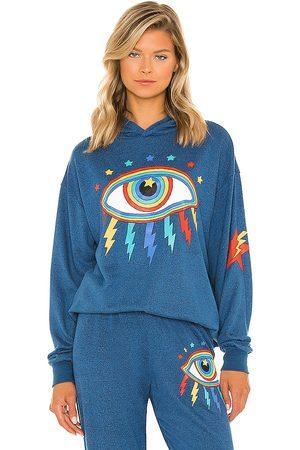 LAUREN MOSHI Harmony Rainbow Lightning Eye Hoodie in Blue.