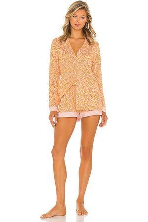 Cosabella Long Sleeve Top & Boxer Set in Orange.