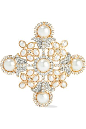 KENNETH JAY LANE Woman Gold-tone Faux Pearl And Crystal Brooch Size