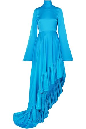 SOLACE LONDON Woman Marlee Gathered Printed Satin Maxi Dress Size 10