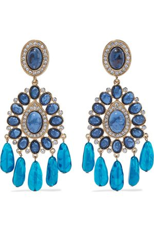 Kenneth Jay Lane Woman Gold-tone Crystal And Stone Earrings Size