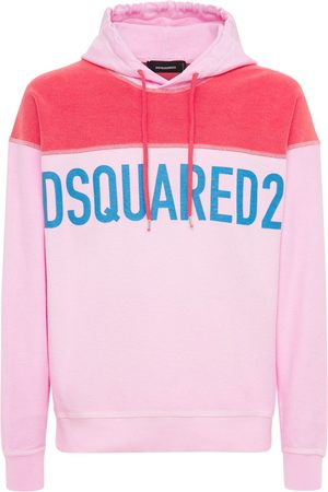 DSQUARED2 Logo Print Faded Cotton Jersey Hoodie
