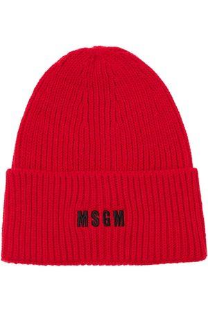 Msgm Men Beanies - Logo Embroidery Knit Beanie