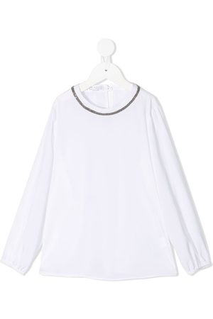 Brunello Cucinelli Girls Blouses - Micro stud-embellished long-sleeved blouse