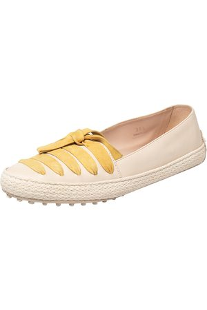 Tod's /Yellow Leather And Suede Bow Espadrille Flats Size 39.5