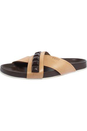 Fendi Leather Cross Strap Slide Sandals Size 41