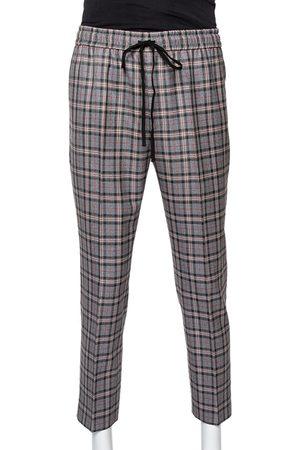 Gucci Grey Checkered Wool Track Pants S
