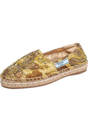 Prada Lurex Fabric Espadrille Flats Size 36.5