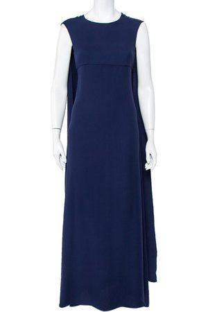 Valentino Women Maxi Dresses - Navy Silk Cape Detail Sleeveless Maxi Dress S