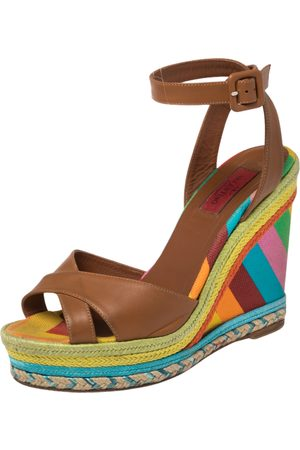 Valentino Leather and Canvas 1973 Espadrille Wedge Ankle Strap Sandals Size 38