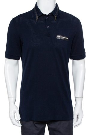 Dolce & Gabbana Navy Cotton Pique Collar Zip Detail Polo T-Shirt L