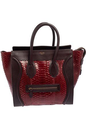 Celine Women Purses - Céline /Burgundy Python and Leather Mini Luggage Tote